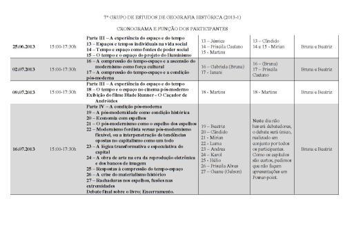 Cronograma válido até o final do 7º GEGH (2013-1)