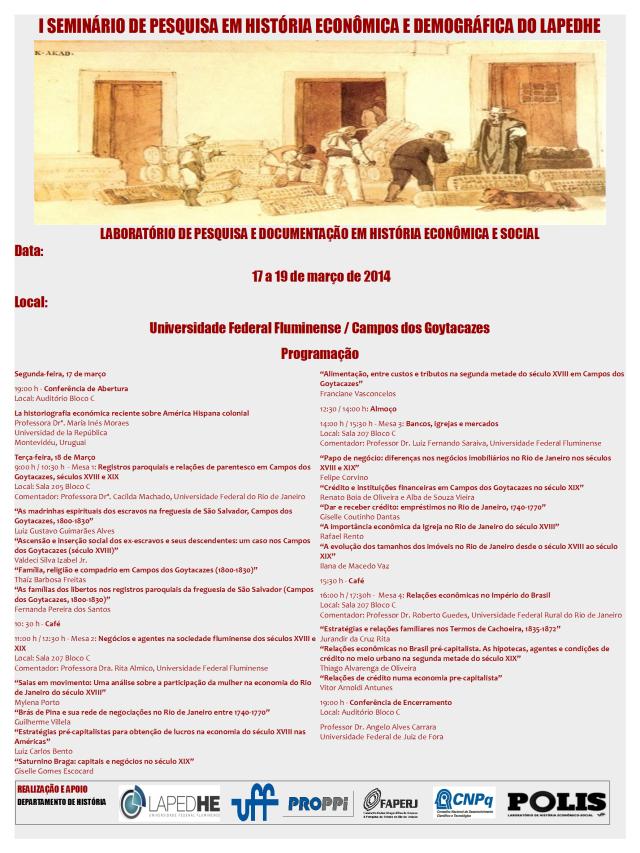CARTAZ - SEMINÁRIO DE PESQUISA EM HISTÓRIA ECONÔMICA1