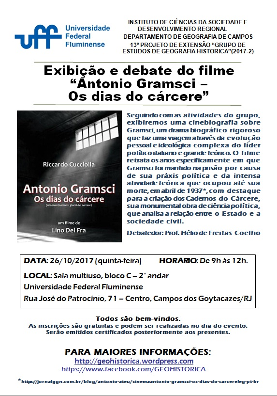 Cartaz GEGH 2017-2 filme Antonio Gramsci