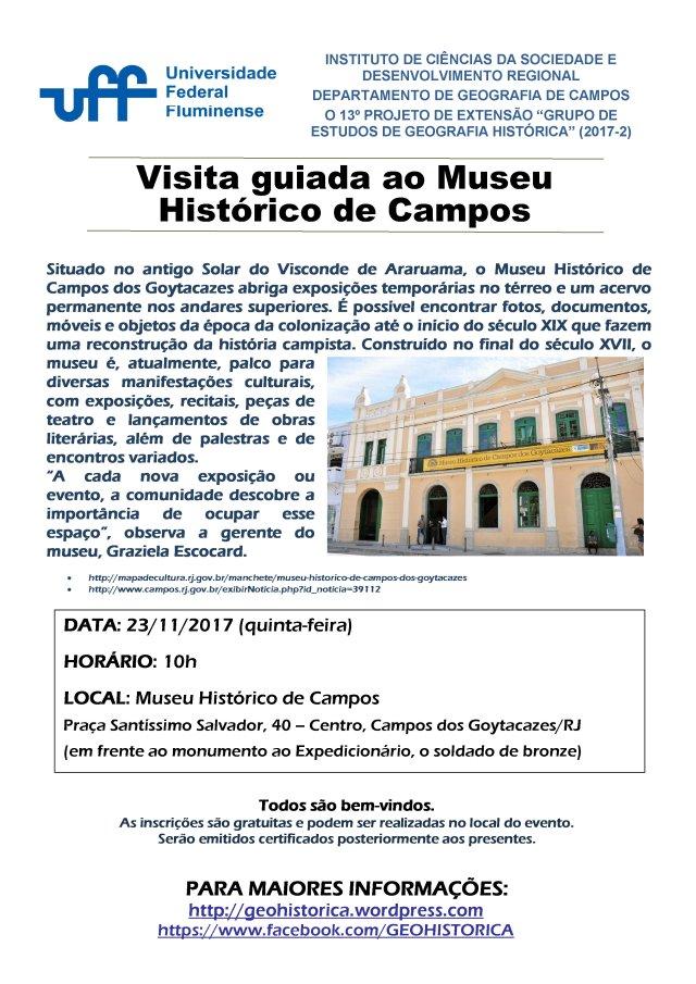 Cartaz GEGH 2017-2 Museu Histórico